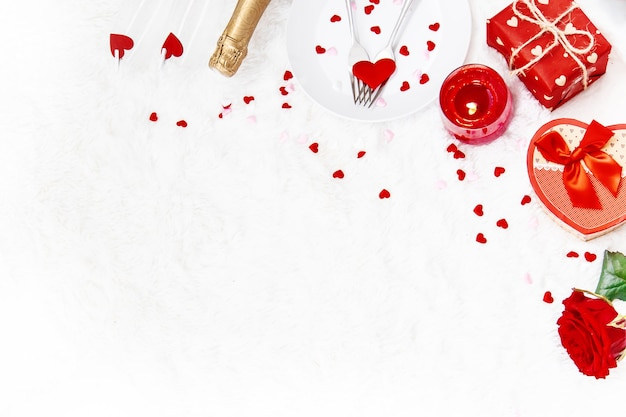 Composition of valentine's day gifts and ornaments