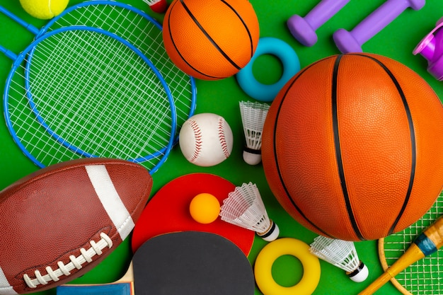 Composition of various sport equipment for fitness and games