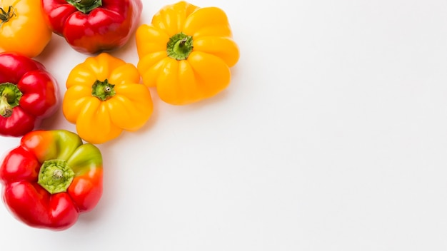 Composition of vegetables on white background