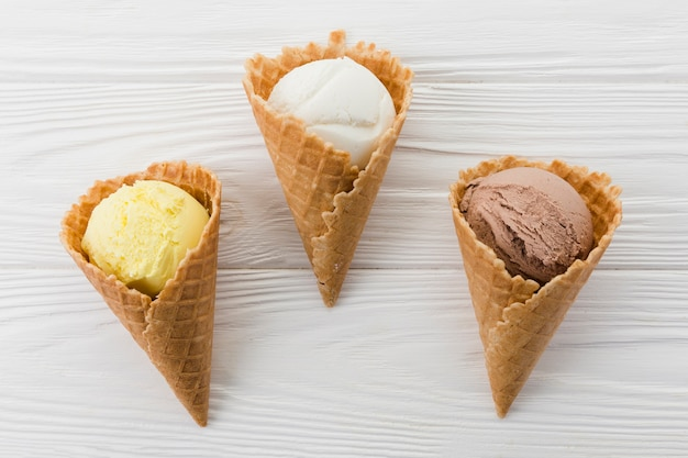 Composition of waffle cones with ice cream
