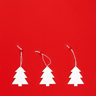 Composition of white christmas trees