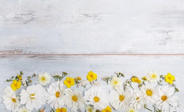 Композиция белая космея, космос на синих досках. желтые цветы на фоне деревянного стола ручной работы. фон с копией пространства, плоская планировка, вид сверху. матери, валентинок, женщин, концепция дня свадьбы.