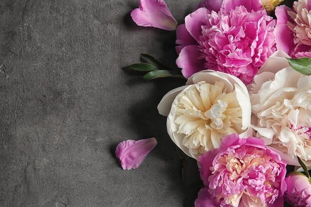 Композиция с красивыми цветами пиона на сером текстурированном фоне, крупным планом