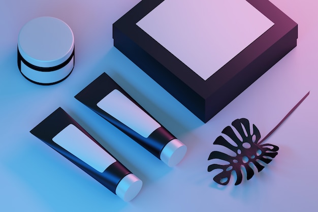 Composition with black cosmetic tubes, jar and box