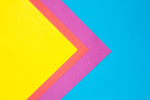 Composition with blue, purple, red and yellow sheets triangle