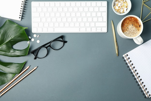 Composition with business accessories on black. blogger workspace