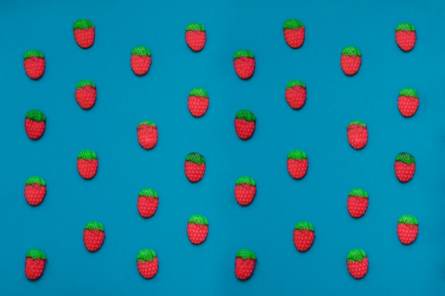 Composition with candy strawberries