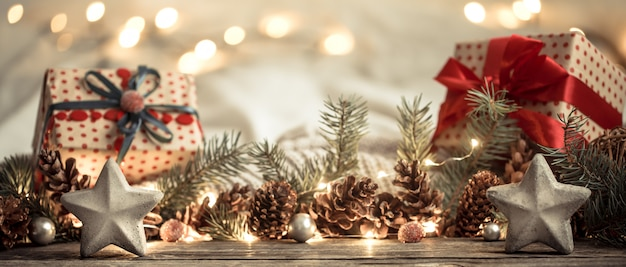 Composition with christmas decorations in the interior