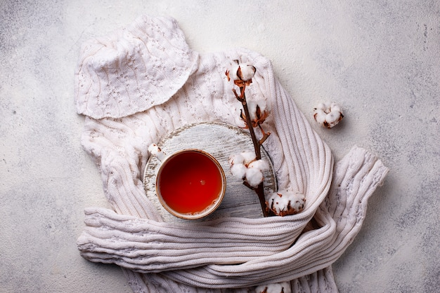 Composition with cotton branch and tea