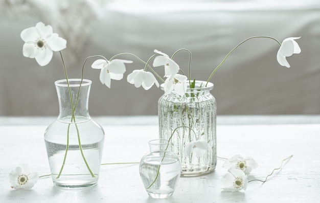 ガラスの花瓶の繊細な春の花との構成