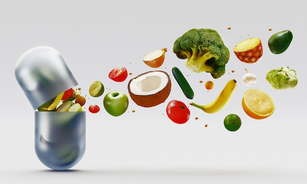 Composition with dietary supplements vegetables capsules. variety of drug pills. 3d rendering illustration