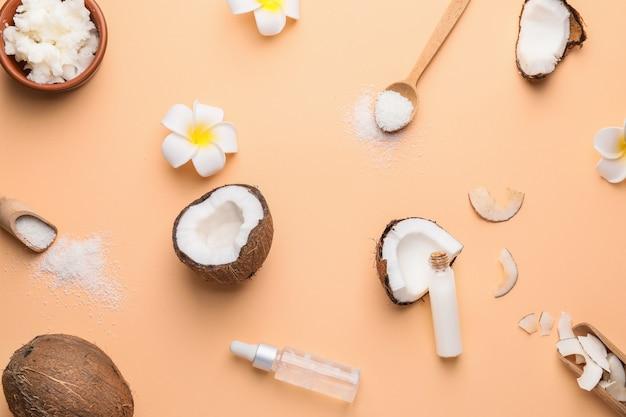 色の異なるココナッツ製品との組成