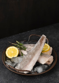 Composition with frozen fish on the table