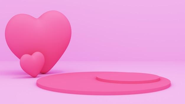 Композиция с подарочными коробками и сердечками и розовым подиумом. 3d визуализация