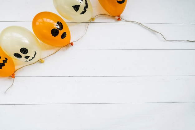 Composition with halloween balloons
