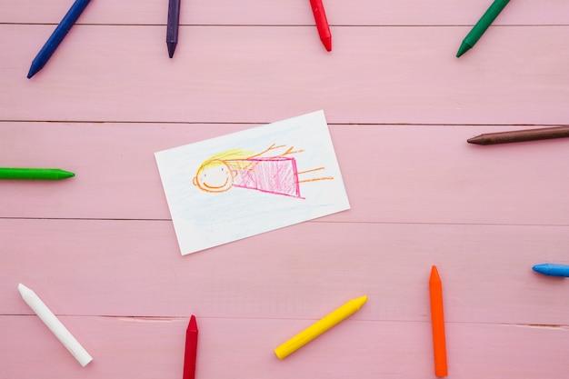 Composizione con bambini disegno per la festa della mamma
