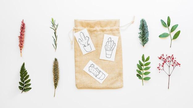 Композиция с коллекцией листьев и сумкой