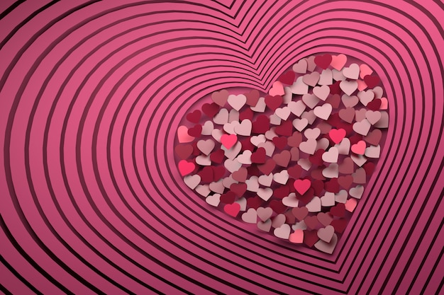 Composition with many repeating pink heart shapes