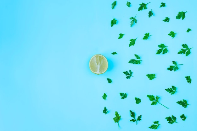 Composition with parsley and half lemon