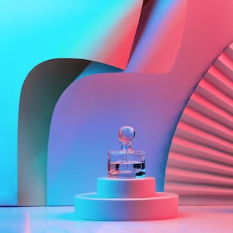 Composition with perfume on the podium, with geometric shapes and a fan in neon light