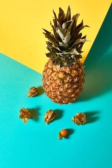 パイナップルと熟したホオズキの実と影の反射による構成