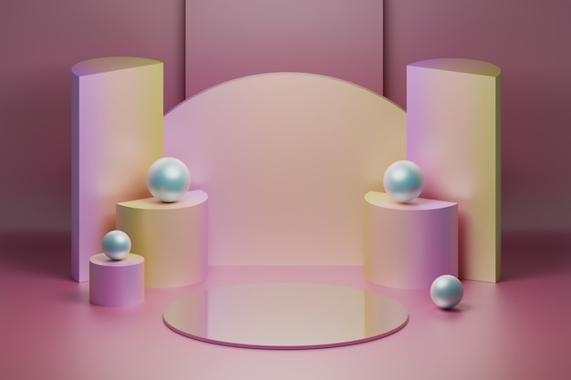부드러운 핑크 색상의 제품 프레젠테이션 반사 미러 스테이지 구성