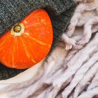 Composition with pumpkin and knitted hat