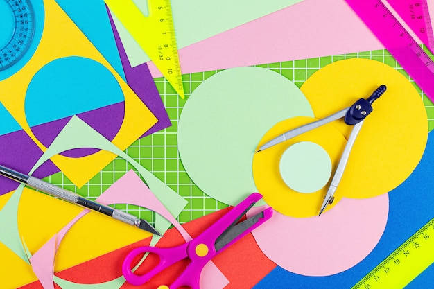 Composition with school stationery on color background flat lay back to school concept