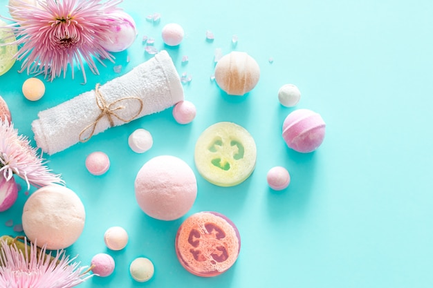 Composition with spa items on a colored background