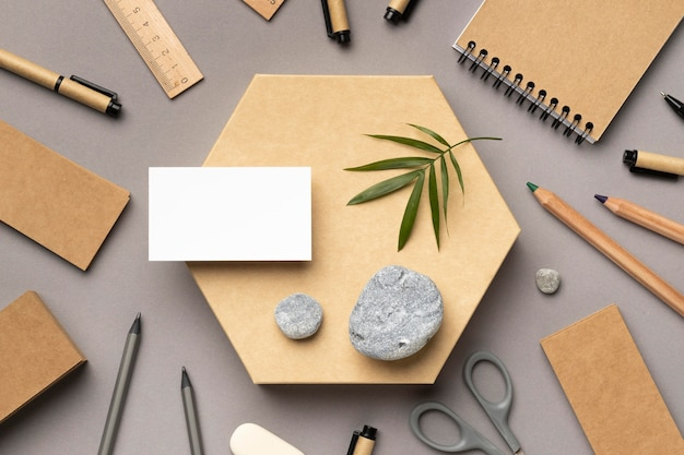 Composition with stationery elements on grey