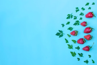 Composition with strawberries, parsley and blank space for messages