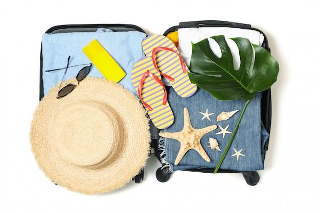 Composition with travel accessories isolated on white background