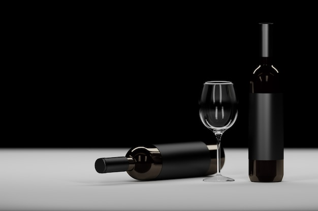 Composition with two dark glass wine bottle and wine glass on black
