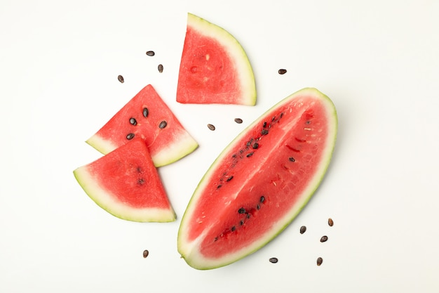 Composition with watermelon slices on white. summer fruit
