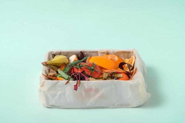 Compost, food leftovers, vegetable peels in compost bin on blue background. kitchen recycle
