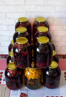 Compote in cans of cherries