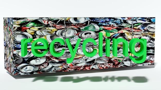 Прессованный брикет из мусора с надписью переработка 3d рендера