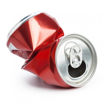 Compressed cans isolated on white