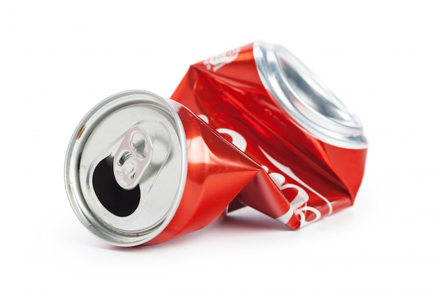 Compressed cans isolated on a white