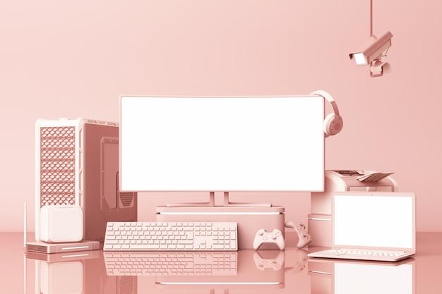 パステルピンクのテブルに多くのガジェットを持つコンピューターとラップトップの白い画面