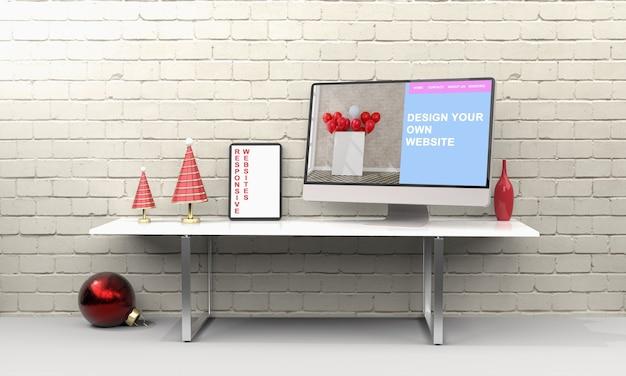 책상에 컴퓨터와 태블릿