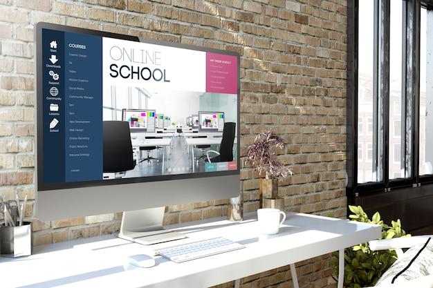 Компьютер на рабочем столе с онлайн-школой на экране 3d-рендеринга