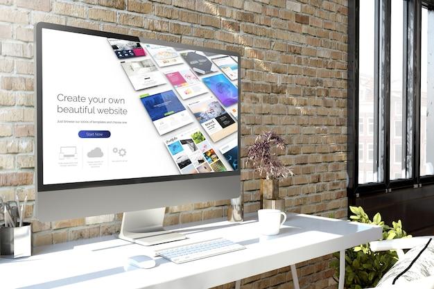 画面の3dレンダリングでウェブサイトビルダーを備えたデスクトップのコンピューター