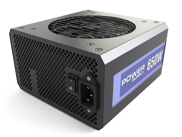 Блок питания компьютера черный, изолированные на белом фоне. 3d illustartion Premium Фотографии