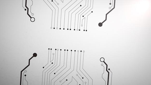 コンピュータチップパターン、抽象的な背景。ビジネスのためのエレガントで豪華なダイナミックな技術スタイル、3dイラスト