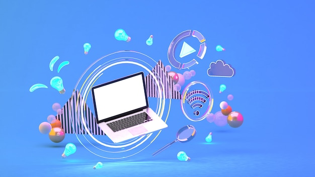 Computer in a circle of light among the social media icons and colorful balls on the blue. 3d rendering.