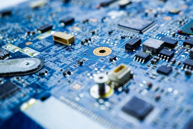 Computer circuit cpu main board electronics device: concept of hardware and technology.