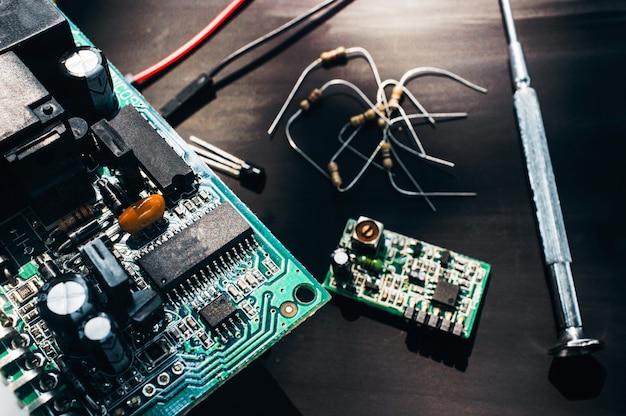 Computer circuit at repair service closeup
