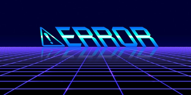 Computer danger symbol cyberpunk concept 80s neon tone digital pixel computer system error