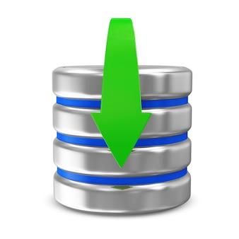 다운로드 화살표가 흰색 절연 컴퓨터 데이터베이스